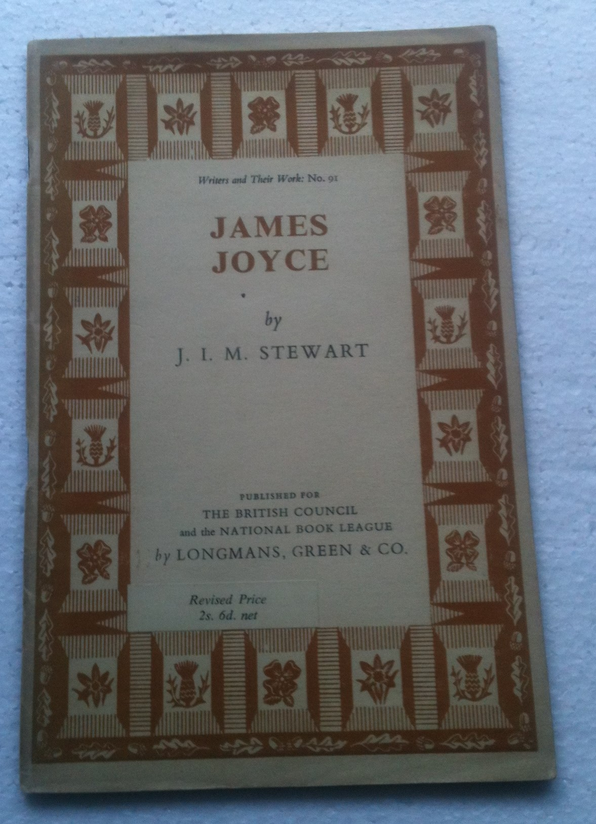 Image for James Joyce By J I M Stewart Writers and Their Works No 91