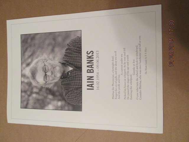 Image for Iain Banks 16.02.1954-09.06.2013 Memorial Ceremony  Booklet