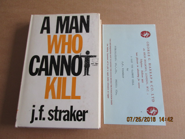 Image for A Man Who Cannot Kill First Edition Hardback in dustjacket Plus Review Slip