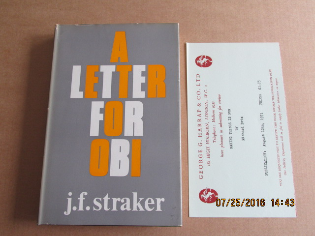 Image for A Letter for Obi Near Fine Copy in Jacket Plus Review Slip