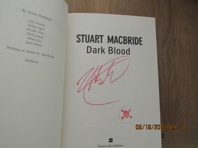 Image for Dark Blood First Edition Hardback in Dustjacket with Full Signature of Author and Skull stamp]