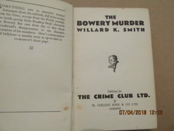 Image for The Bowery Murder 2nd Printing Hardback