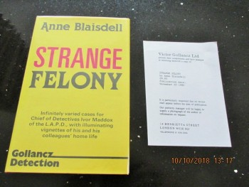 Image for Strange Felony First Edition Hardback in Dustjacket Plus Review Slip