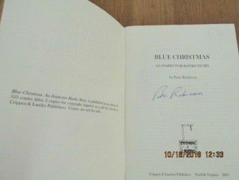 Image for Blue Christmas an Inspector Banks Story Signed 1st Edition Limited Edition