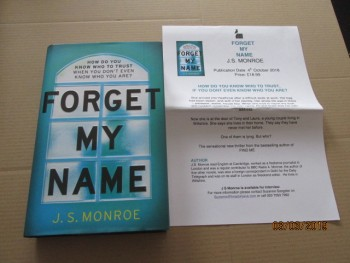 Image for Forget My Name First Edition Hardback in Dustjacket Plus Publicity Letter