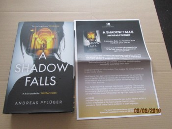 Image for A Shadow Falls First Edition Hardback in Dustjacket Plus Publicity Letter