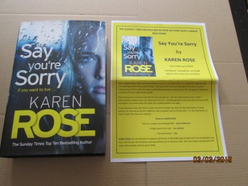Image for Say You're Sorry First Edition Hardback in Dustjacket Plus Publicity Letter