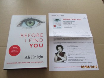 Image for Before I Find You First Edition Hardback in Dustjacket Plus Publicity Letter