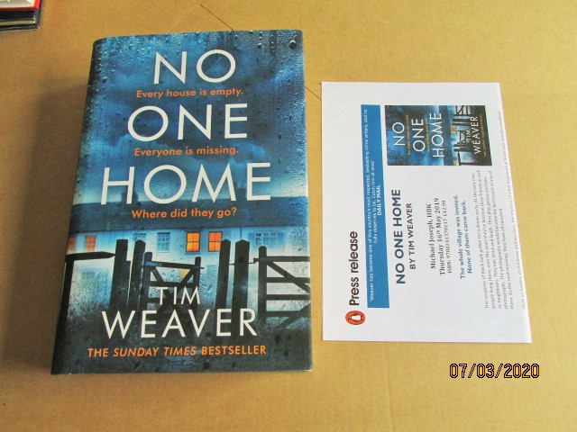 Image for No One Home Unread First Edition Hardback in Dustjacket Plus Publicity Letter