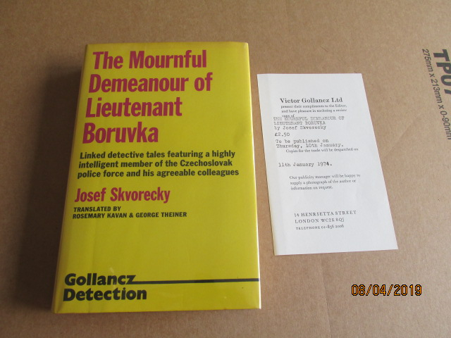 Image for The Mournful Demeanour of Lieutenant Boruvka Signed Dated Located First Edition Plus Review Slip