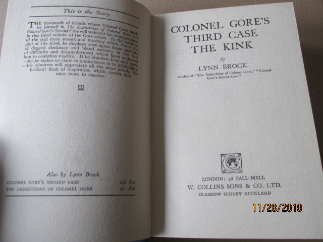 Image for Colonel Gore's Third Case the Kink First Edition Hardback