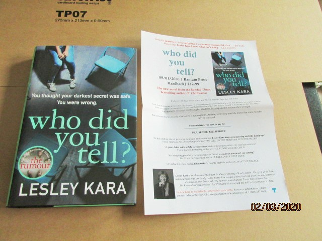 Image for Who Did You Tell ? First Edition Hardback in Dustjacket Plus Publicity Letter