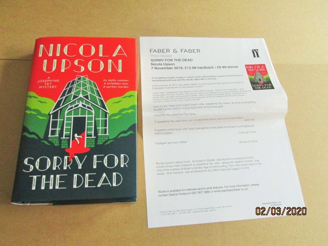 Image for Sorry for the Dead First Edition Hardback in Dustjacket  Plus Publicity Letter