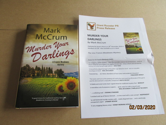 Image for Murder Your Darlings First Edition Hardback in Dustjacket  Plus Publicity Letter