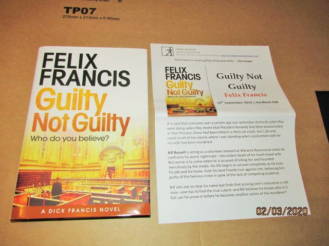 Image for Guilty Not Guilty First Edition Hardback in Dustjacket  Plus Publicity Letter