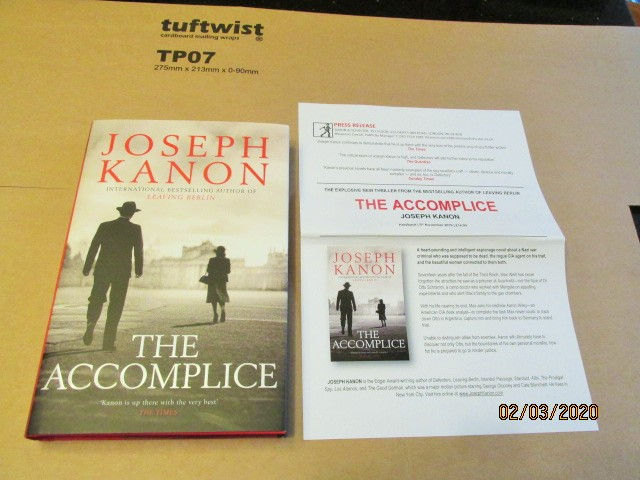 Image for The Accomplice Unread First Edition Hardback in Dustjacket  Plus Publicity Letter