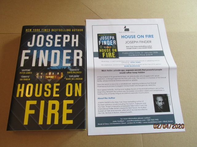 Image for House On Fire Unread Fine First Edition Hardback in Dustjacket Plus Advance Publicity Letter