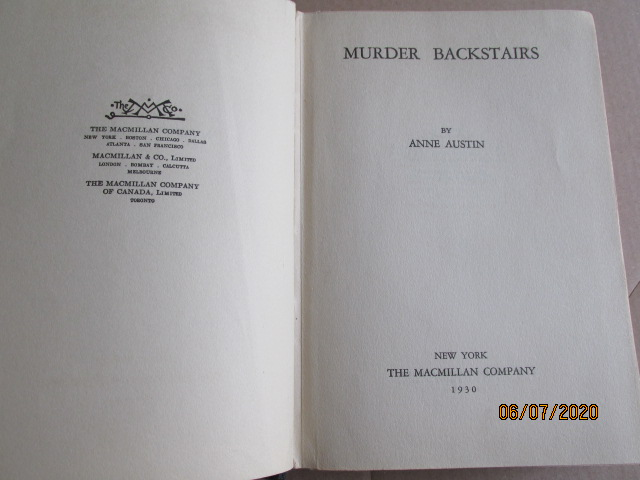 Image for Murder Backstairs First Edition Hardback in Original Dustjacket