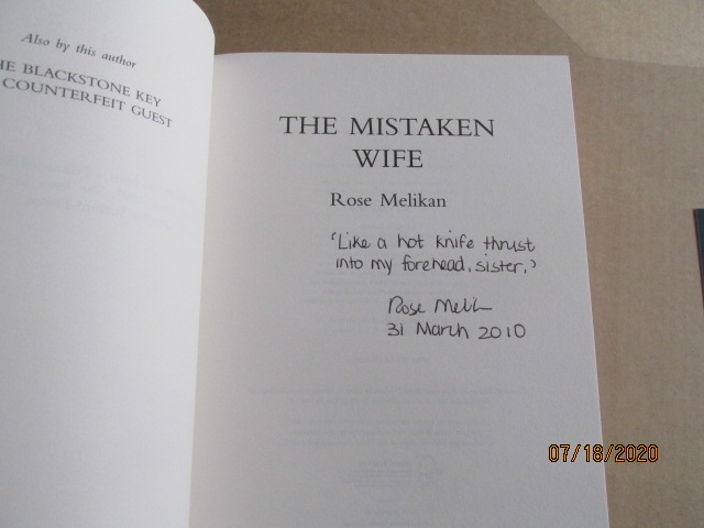 Image for The Mistaken Wife Signed Lined Dated First Printing Plus Signed Postcard