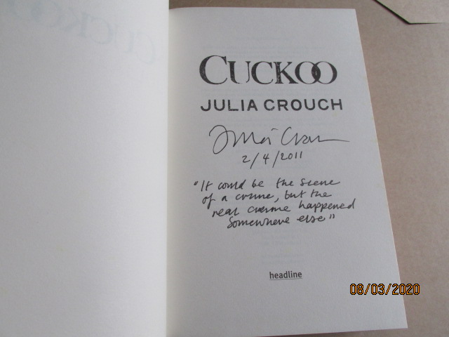 Image for Cuckoo Signed First-Lined Dated First Edition Hardback in Dustjacket