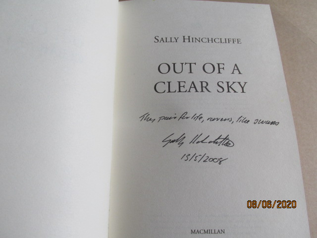 Image for Out Of A Clear Sky Signed Lined Dated First Edition Hardback in Dustjacket