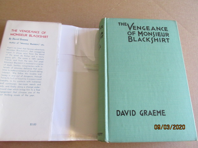 Image for The Vengeance of Monsieur Blackshirt First Edition Hardback in Original Dustjacket
