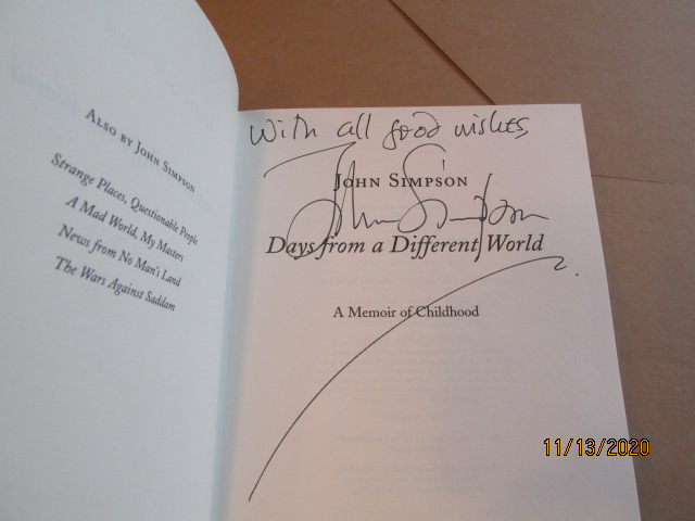 Image for Days from a Different World A Memoir of Childhood Signed First Edition