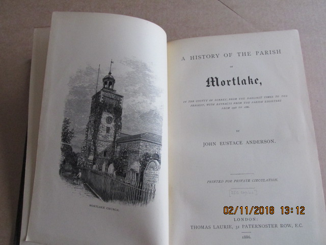 Image for A History of the Parish of Mortlake [ First Printing 1886 ]