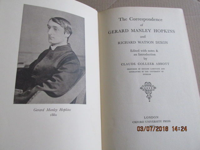 Image for The Correspondence of Gerard Manley Hopkins  and Richard Watson Dixon  [ 1935 First Edition in Dustjacket ]